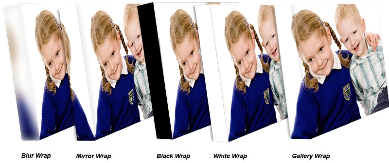 Choices of wrap for canvas print
